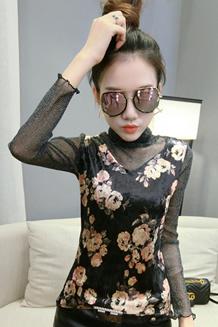 618-2# 实拍17年秋冬女修身高领亮丝网纱拼接丝绒花色长袖打底衫