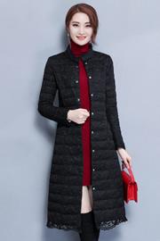 实拍6359秋冬新款纯色蕾丝中长款羽绒服女装修身显瘦气质优雅外套