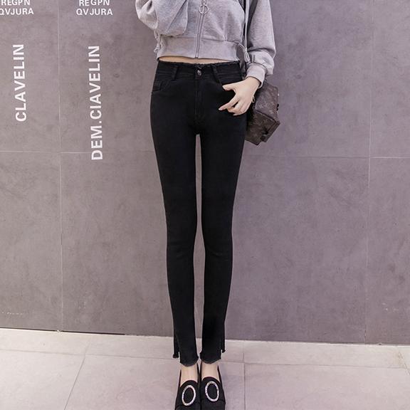 663#【黑色详情】实拍牛仔裤女长裤高腰显瘦黑色小脚裤韩版夏秋季