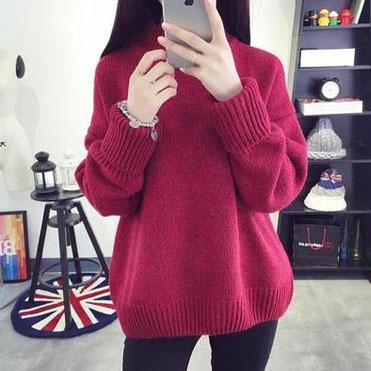 高领加厚毛衣女套头韩版针织衫冬季宽松短款打底学生线衣7892