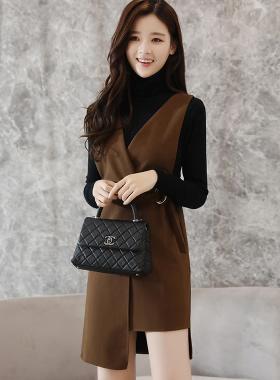 实拍9559# 女装套装裙子韩版背带裙两件套针织打底连衣裙秋冬款
