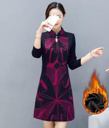 实拍1510秋冬连衣裙女2017新款羊毛呢复古旗袍裙长袖冬季打底裙子