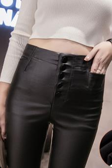 实拍秋冬高腰显瘦涂层皮弹力紧身皮裤女加绒修身打底裤外穿1685#
