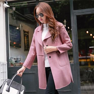 韩模实拍6683#2017秋冬新款韩版毛呢大衣女外套中长款呢子大衣