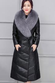 实拍9132#皮衣皮草外套2017冬新款狐狸毛绵羊皮中长款皮羽绒服女