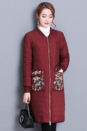 实拍5853冬季外套女中长款2017新款大码绣花长袖棉服保暖纯色显瘦