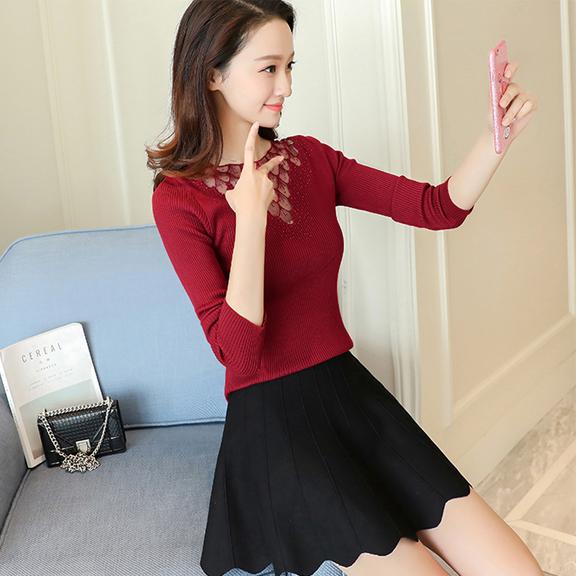 实拍8728秋冬新款韩版女装百搭修身蕾丝拼接打底针织衫气质毛衣女