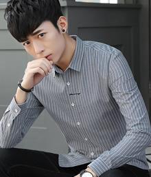 #81269新款条纹加绒衬衫男长袖修身青年韩版潮休闲加厚保暖衬衣