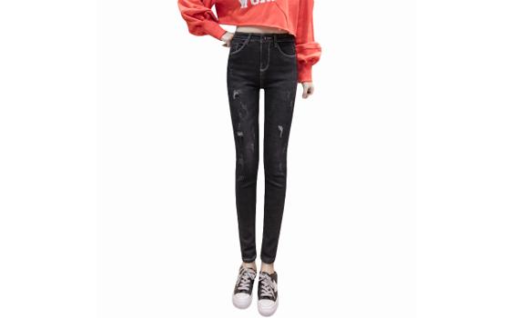 韩新款加绒加厚黑灰牛仔裤女弹力显瘦小脚裤修身保暖铅笔裤32008