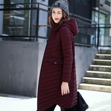 6807实拍2017秋冬新款羽绒棉服女轻薄修身时尚中长款韩版棉衣外套