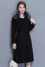 实拍2017冬装新款女式加厚大毛领毛呢外套中长款毛呢大衣17835