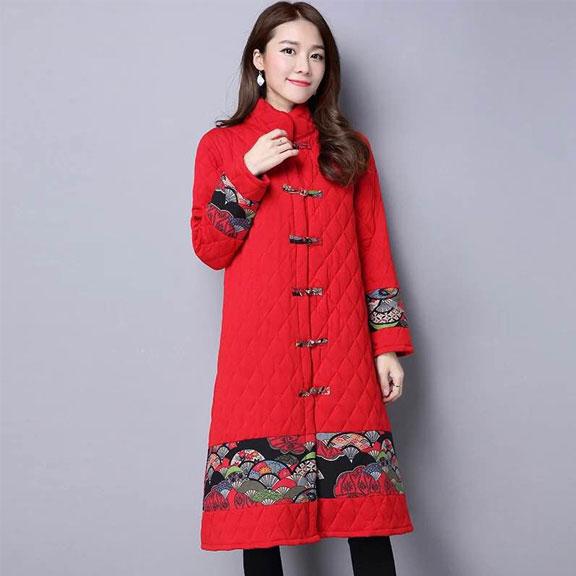 639实拍2016冬新款女大码中长款民族风盘扣印花拼接长袖开衫外套