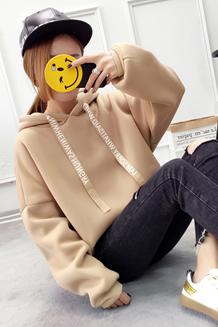 820# 已出货 新款带帽卫衣女加绒加厚韩版秋冬装学生宽松纯色长袖