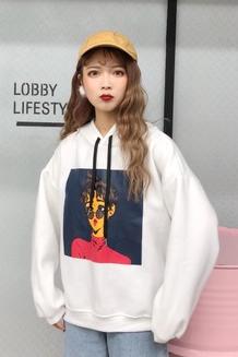 836#(实拍)2017韩版学院风可爱人物卡通宽松连帽卫衣 已出货