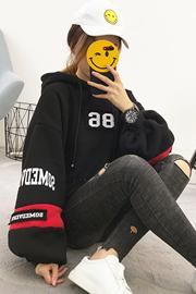 171#(实拍-250克大卫衣)泡泡袖加绒加厚卫衣女装连帽2017新款