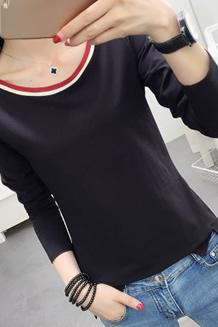 321#实拍(10号出货)纯棉圆领纯色长袖打底衫T恤(95棉 5氨纶)
