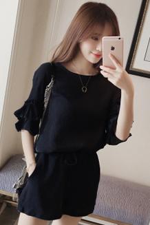 920#夏季胖mm两件套装新款韩版大码女装宽松显瘦短袖雪纺套装女潮