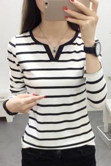 0866韩版修身显瘦黑白条纹V领长袖t恤女士打底衫夏装体恤上衣