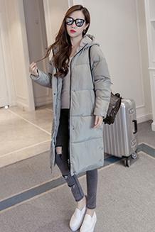 9873韩版过膝棉服冬季女装外套加厚棉袄学生面包服棉衣女中长款潮