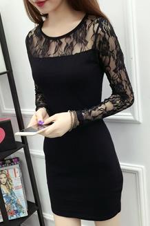 814#新款性感黑色蕾丝连衣裙女修身中长网纱拼包臀长打底裙512150