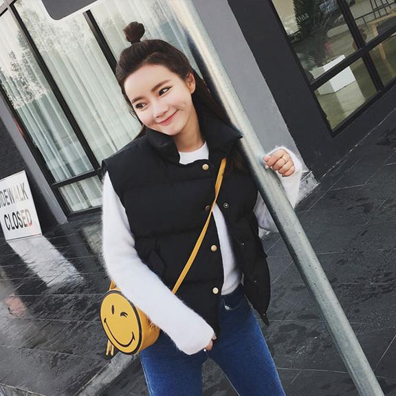 2017秋冬新款韩版显瘦百搭纯色学生短款棉马甲女外套羽绒棉服马夹