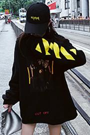 089#【实拍】【薄款】【加绒】chic长袖连帽套头棒球帽衫卫衣女