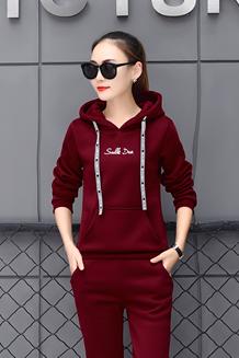 869#【实拍】加绒加厚秋冬运动服休闲套装连帽长袖卫衣两件套