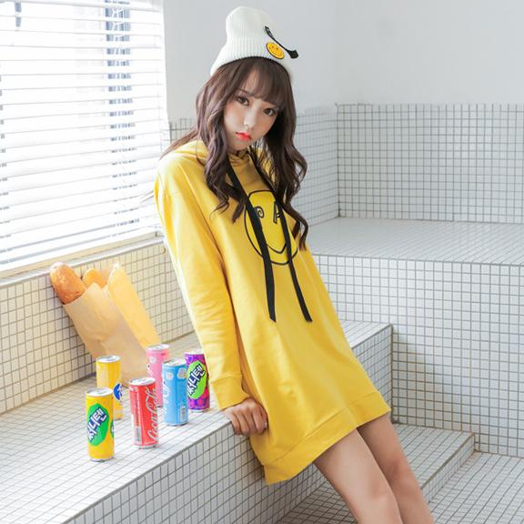 Y18实拍   秋冬加绒宽松套头连帽黄色卫衣女 韩版显瘦中长款长袖