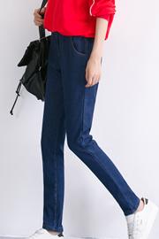 7520(潮衣坊实拍)秋冬装长裤女裤加绒高腰哈伦裤