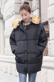 709反季清仓新款韩版羽绒服女中长款加厚大毛领宽松大码外套面包