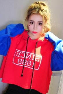 720#秋冬季新款bf风宽松套头连帽卫衣女装韩版潮学生加绒加厚外套