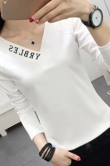 329#实拍(10号出货)纯棉V领印花字母长袖打底T恤(95棉 5氨纶)