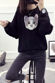 530#秋冬加厚卡通学生外套女装冬装新款潮韩版宽松毛衣