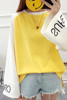 4325# 【好质量】12色 拼接撞色 喇叭袖长袖宽松t恤薄款刺绣卫衣