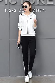 A02#建议出售价89元2017春秋装新款韩版运动套装休闲两件套潮实拍