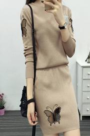 8062#秋装新款时尚毛衣包臀短裙套装女秋冬长袖针织连衣裙两件套