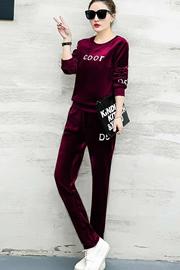8329#春秋新款时尚金丝天鹅绒休闲套装大码卫衣女装运动套装潮