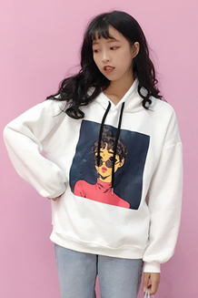 实拍134#秋冬女装韩版学院风可爱人物卡通宽松连帽卫衣外套学生潮