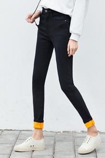 牛仔裤女秋季2017新款高腰长裤紧身韩版显瘦小脚铅笔加绒女裤裤子