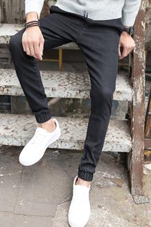 黑色牛仔裤男士裤子秋季新款2017夏季直筒韩版潮流修身绑带小脚裤