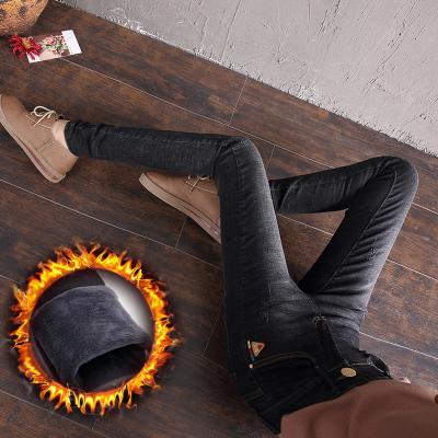 秋装牛仔裤女长裤秋冬2017新款韩版显瘦加绒小脚铅笔牛仔裤厂家