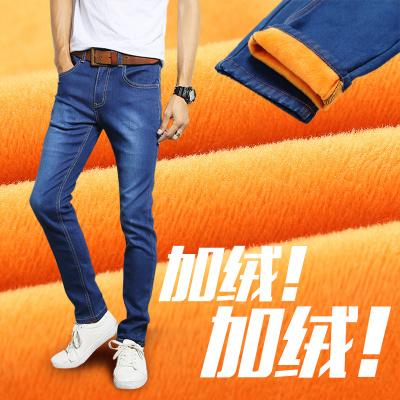 秋冬季加绒牛仔裤男士小脚裤黑色弹力修身韩版潮流休闲男裤子学生