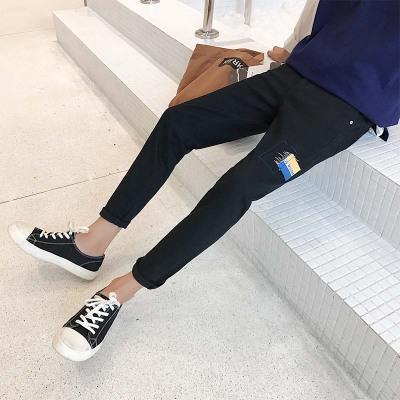 秋冬季新款男士修身牛仔裤青少年小脚黑色潮长裤子 P40(不低78)