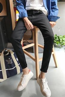 秋季新品九分牛仔裤男士2017韩版修身潮流小脚男生9分男裤子 黑色